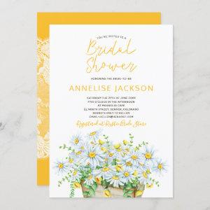 Summer daisies yellow and white lace bridal shower invitation starting at 2.45