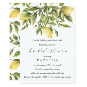 Summer Lemons and Foliage Wedding Bridal Shower Invitation starting at 2.51