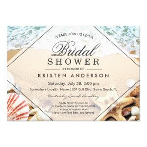 Summer Sandy Beach Starfish Seashell Bridal Shower Invitation starting at 2.40