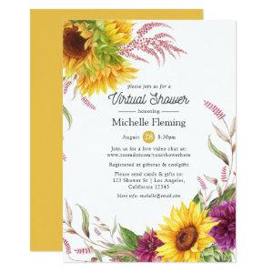 Sun and Burgundy Plum Floral Virtual Bridal Shower Invitation starting at 2.66