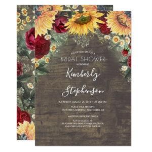 Sunflower and Burgundy Rose Rustic Bridal Shower Invitation starting at 2.26