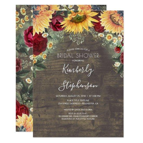 Sunflower and Burgundy Rose Rustic Bridal Shower Invitation