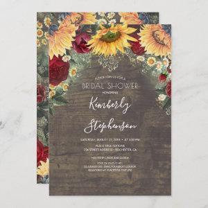 Sunflower and Burgundy Rose Rustic Bridal Shower Invitation starting at 2.51