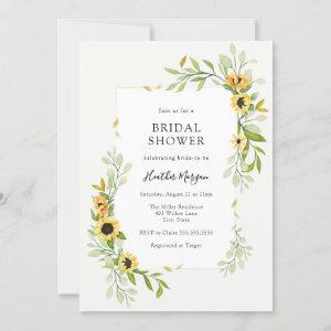 Sunflower and Greenery Frame Bridal Shower Invitation starting at 2.45