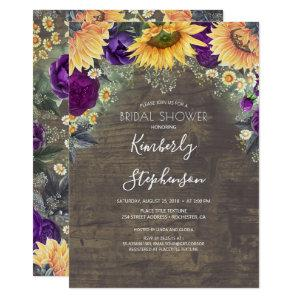 Sunflower and Purple Rose Rustic Bridal Shower Invitation starting at 2.51