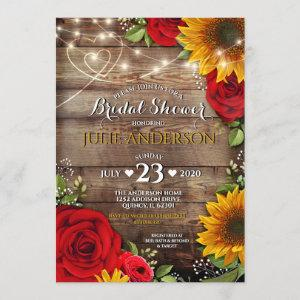 Sunflower and Rose Rustic Bridal Shower Invitation starting at 2.45