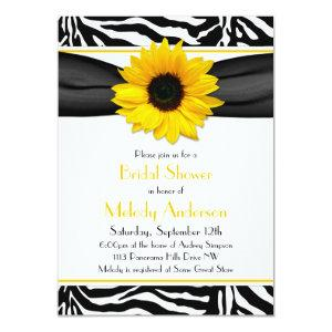 Sunflower Black White Zebra Print Bridal Shower Invitation starting at 2.31