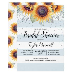 Sunflower blue stripes confetti fall bridal shower invitation starting at 2.40