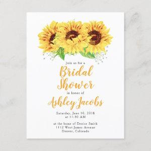 Sunflower Bridal Shower Invitation Watercolor starting at 2.10