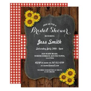 Sunflower Bridal Shower Party Rustic Chalk & Wood Invitation starting at 2.51