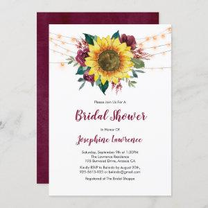 Sunflower Burgundy Rose Lights Bridal Shower Invitation starting at 2.40