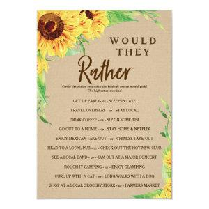 Sunflower Double Sided Bridal Shower Game Invitation starting at 2.35
