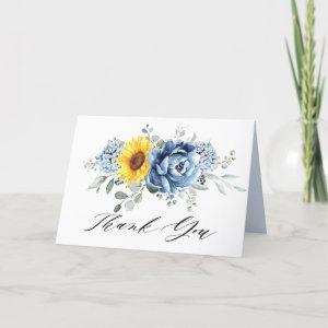 Sunflower Dusty Blue Slate Peony Floral Wedding Thank You Card starting at 3.45