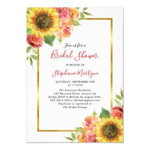 Sunflower Fall Floral Gold Border Bridal Shower Invitation starting at 2.40