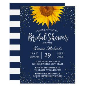 Sunflower Gold Confetti Navy Blue Bridal Shower Invitation starting at 2.45