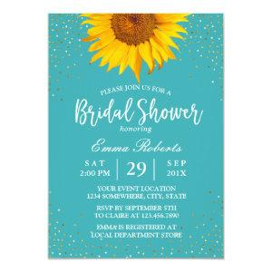 Sunflower Gold Confetti Turquoise Bridal Shower Invitation starting at 2.45