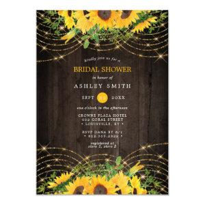 Sunflower Gold String Lights Rustic Bridal Shower Invitation starting at 2.55