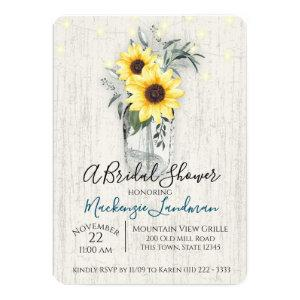 Sunflower Jar and String Lights Rustic Wedding Invitation starting at 2.70
