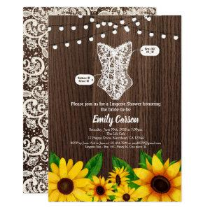 Sunflower lingerie shower invitation rustic wood starting at 2.45