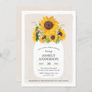 Sunflower Mason Jar Bridal Shower Invitation starting at 2.45
