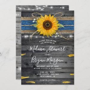 Sunflower Navy Blue Lace Rustic Wood Wedding Invitation starting at 2.82