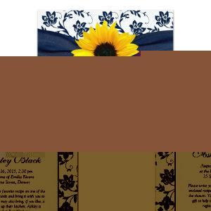 Sunflower Navy Damask Bridal Shower Invitation starting at 2.66