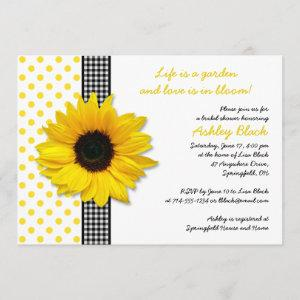 Sunflower Polka Dot Gingham Bridal Shower Invite starting at 2.66