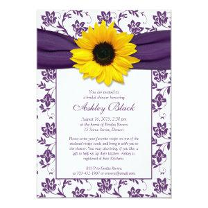 Sunflower Purple Damask Bridal Shower Invitation starting at 2.66