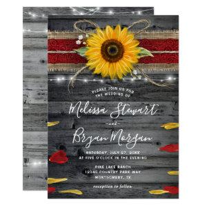 Sunflower Rose Burgundy Lace Rustic Wood Wedding Invitation starting at 2.82