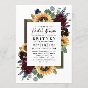 Sunflower Roses Burgundy Navy Blue Bridal Shower Invitation starting at 2.25