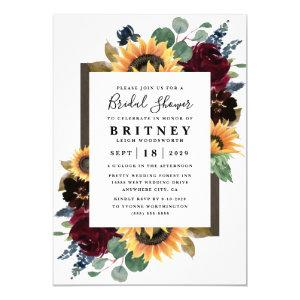 Sunflower Roses Burgundy Navy Blue Bridal Shower Invitation starting at 2.00