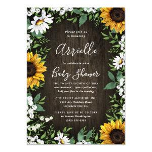 Sunflower Rustic Country Floral Fall Baby Shower Invitation starting at 2.25