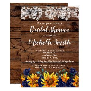 Sunflower Rustic Lace Country Blue Bridal Shower Invitation starting at 2.35
