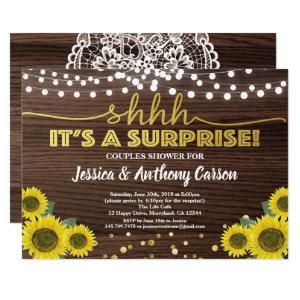 Sunflower surprise couples shower rustic wood gold invitation starting at 2.40