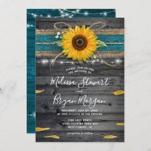 Sunflower Teal Burlap Lace Rustic Wood Wedding Invitation starting at 2.82