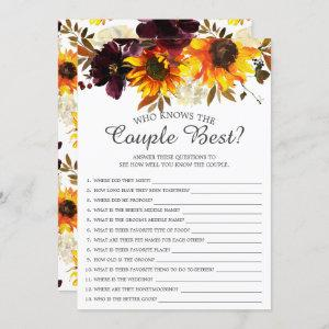 Sunflower Who Knows the Couple Best Bridal Game starting at 2.40
