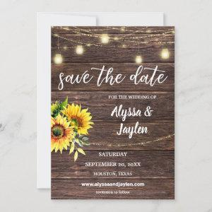 Sunflower Wood & String Lights Save the Date Invitation starting at 2.30