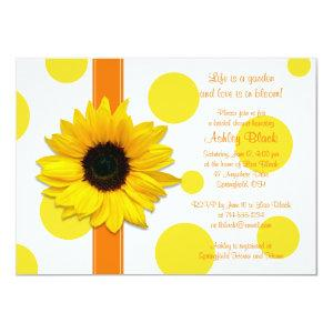 Sunflower Yellow Orange Polka Dot Bridal Shower Invitation starting at 2.31