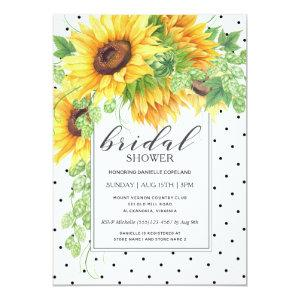 Sunflowers and Polka Dots Floral Bridal Shower Invitation starting at 2.51