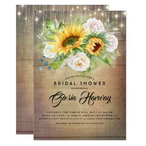 Sunflowers and White Roses Rustic Bridal Shower Invitation starting at 2.51