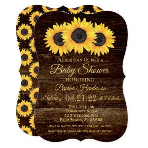 Sunflowers Baby Shower Invitation Rustic Wood starting at 2.81