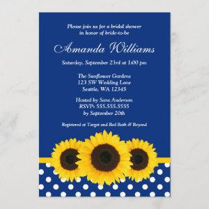 Sunflowers Blue and White Polka Dot Bridal Shower Invitation starting at 2.51