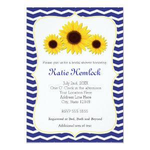 Sunflowers Blue Chevron Bridal Shower Invitation starting at 2.51