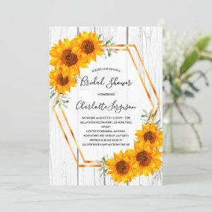Sunflowers Bridal Shower rustic gold geometrical  Invitation starting at 2.40