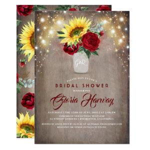 Sunflowers Burgundy Red Rustic Fall Bridal Shower Invitation starting at 2.51