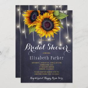 Sunflowers chic rustic string lights bridal shower invitation starting at 2.51