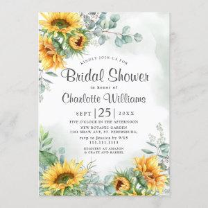 Sunflowers Eucalyptus Watercolor Bridal Shower Invitation starting at 2.35
