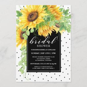 Sunflowers Floral and Polka Dots Bridal Shower Invitation starting at 2.51