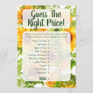 Sunflowers Guess The Price Bridal Shower Game Invitation starting at 2.66