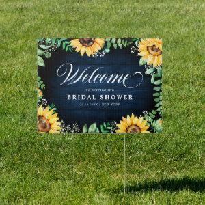 Sunflowers gypsophila Navy Bridal Shower Welcome Sign starting at 27.15